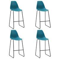 vidaXL Bar Chairs 4 pcs Turquoise Plastic