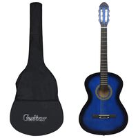 "vidaXL Classical Guitar for Beginner with Bag Blue 4/4 39"""