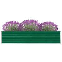 vidaXL Garden Raised Bed Galvanised Steel 320x40x45 cm Green
