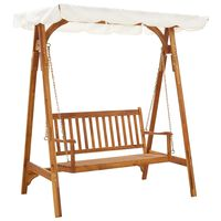 vidaXL Garden Swing Bench with Canopy Solid Acacia Wood