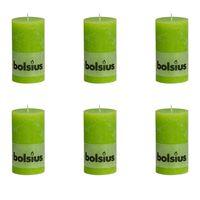 Bolsius Rustic Pillar Candle 130 x 68 mm Lime 6 pcs