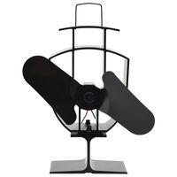 vidaXL Heat Powered Stove Fan 2 Blades Black