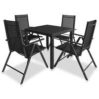 vidaXL 9 Piece Outdoor Dining Set Aluminium and WPC Black