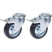 "100mm 4"" castor rubber tyre, swivel with brake, strong 180kg capacity,"
