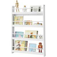 SoBuy Wall White 4 Tiers Kids Storage Shelving Bookcase Rack KMB08-W