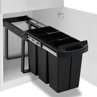 vidaXL Kitchen Cupboard Pull-out Recycled Dustbin Soft-Close 36 L