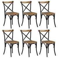 vidaXL Cross Chairs 6 pcs Black Solid Mango Wood