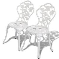 vidaXL Bistro Chairs 2 pcs Cast Aluminium White