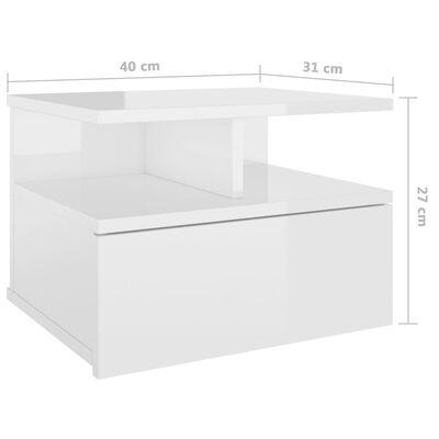 vidaXL Floating Nightstands 2 pcs High Gloss White 40x31x27 cm Chipboard