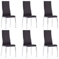 vidaXL Dining Chairs 6 pcs Brown Faux Leather
