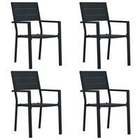 vidaXL Garden Chairs 4 pcs Black HDPE Wood Look