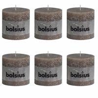 Bolsius Rustic Pillar Candle 100x100 mm Taupe 6 pcs