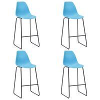 vidaXL Bar Chairs 4 pcs Blue Plastic