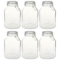vidaXL Glass Jars with Lock 6 pcs 3 L