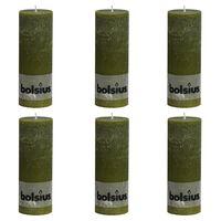 Bolsius Rustic Pillar Candles 6 pcs 190x68 mm Olive