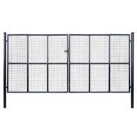 vidaXL Mesh Garden Gate Galvanised Steel 400x200 cm Grey