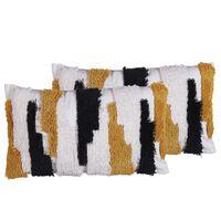 Set Of 2 Patchwork Cushions 30 X 50 Cm Multicolour Monarda