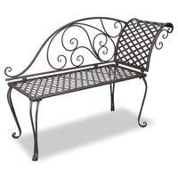 vidaXL Garden Chaise Lounge 128 cm Steel Antique Brown