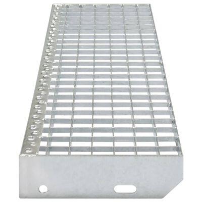 vidaXL Stair Treads 4 pcs Press-locked Galvanised Steel 700x240 mm