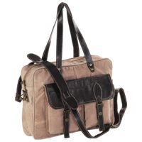 vidaXL Hand Bag Brown 40x53 cm Canvas and Real Leather