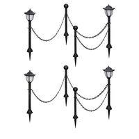 vidaXL Solar Lights 4 pcs with Chain Fence and Poles