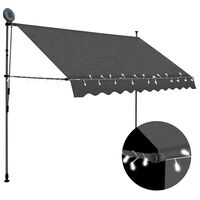 vidaXL Manual Retractable Awning with LED 300 cm Anthracite