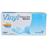 Vinyl Large Latex Free Blue Disposable Gloves - 1 x 100