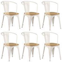 vidaXL Dining Chairs 6 pcs White Solid Mango Wood