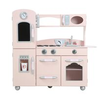 Teamson Kids Childrens Large Wooden Play Kitchen Pink Toy TD-11414P