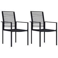 vidaXL Garden Chairs 2 pcs PVC Rattan Black