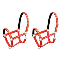 vidaXL Head Collars 2 pcs for Horse Nylon Size Cob Red