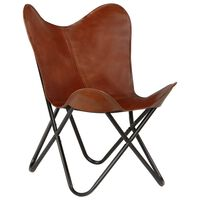 vidaXL Butterfly Chair Brown Kids Size Real Leather