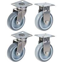 "75mm 3"" stainless steel castor grey rubber, swivel & fixed, 240kg, set"