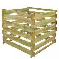 vidaXL Slatted Compost Bin 0.54 m3 Square Wood