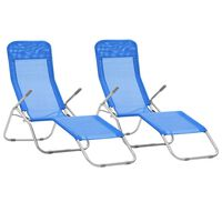 vidaXL Folding Sun Loungers 2 pcs Textilene Blue