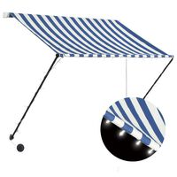 vidaXL Retractable Awning with LED 150x150 cm Blue and White