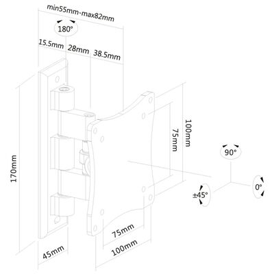 NewStar Flat Screen Wall Mount for 10-27 Screen Tiltable 5-8 cm Black