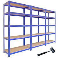 Monster Racking 3 x T-Rax Garage Storage Shelves 90cm W, 45cm D Blue