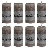 Bolsius Rustic Pillar Candles 8 pcs 100x50 mm Taupe