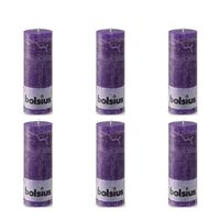 Bolsius Rustic Pillar Candle 190 x 68 mm Purple 6 pcs