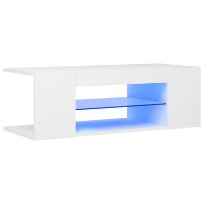 vidaXL TV Cabinet with LED Lights White 90x39x30 cm