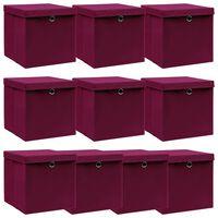 vidaXL Storage Boxes with Lids 10 pcs Dark Red 32x32x32 cm Fabric