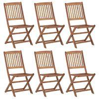 vidaXL Folding Garden Chairs 6 pcs Solid Acacia Wood