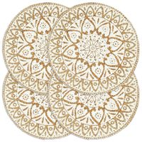 vidaXL Placemats 4 pcs White 38 cm Round Jute