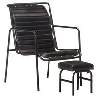vidaXL Relaxing Armchair with a Footrest Black Real Leather