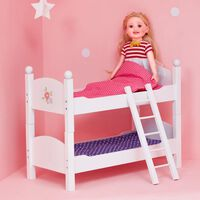 """White Doll Bunk Bed 18"""" Dolls Wooden Furniture Bedroom Toy Role Play T"""