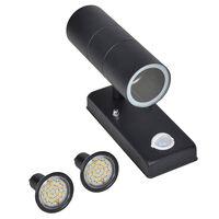 LED Wall Lamp Stainless Steel Cylinder Shape Black Sensor
