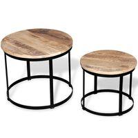 vidaXL Two Piece Coffee Table Set Rough Mango Wood Round 40 cm/50 cm
