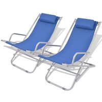 vidaXL Reclining Deck Chairs 2 pcs Steel Blue