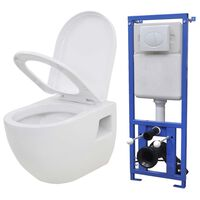 vidaXL Wall-Hung Toilet with Concealed Cistern Ceramic White